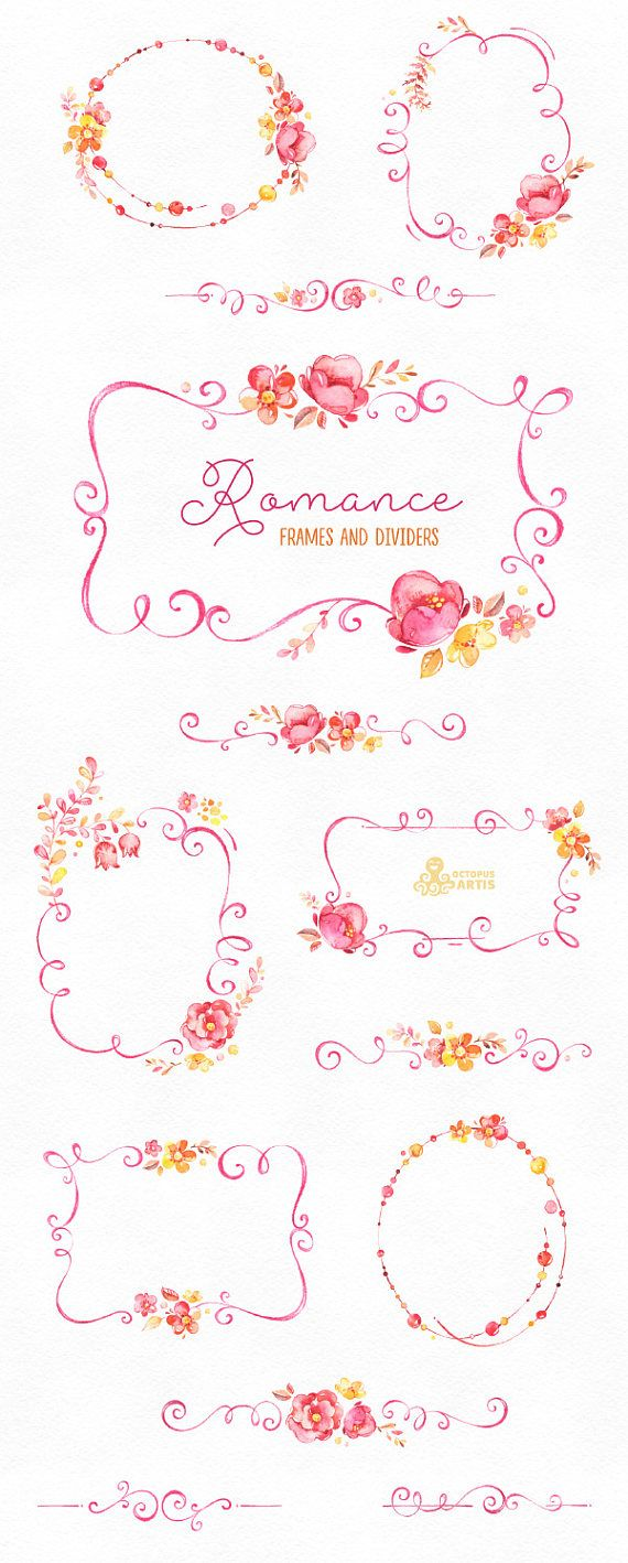 Romance frames and dividers watercolor clipart pink yellow