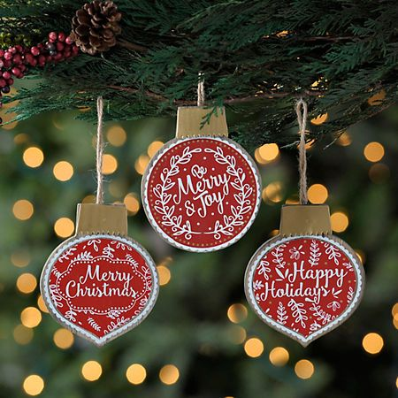 Christmas Sentiment Ornaments Set Of 3 Kirklands Christmas Decorations Sale Christmas Decorations Rustic Christmas Ornaments