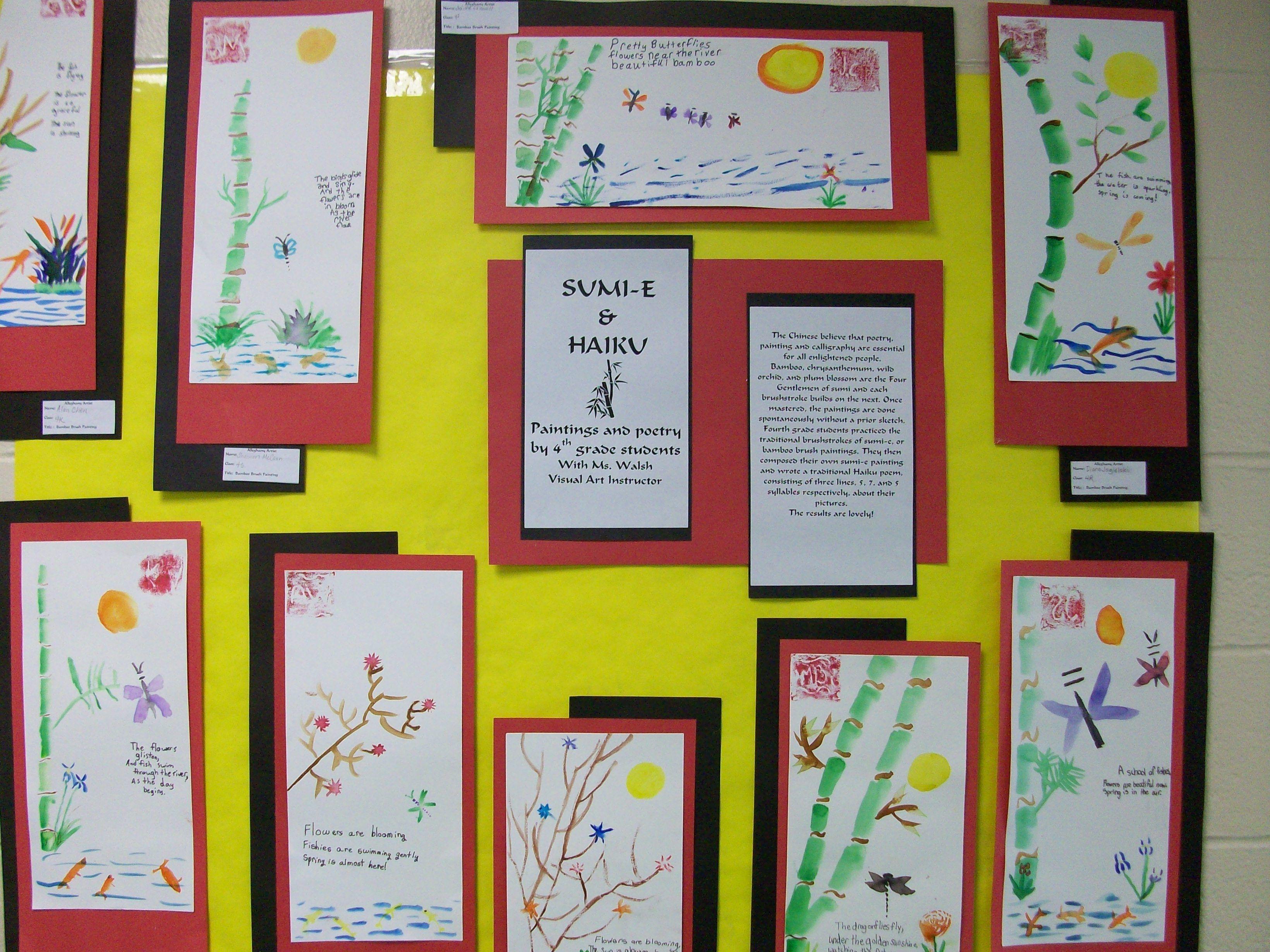Sumi E Mboo Brush Painting And Haiku With 4th Grade