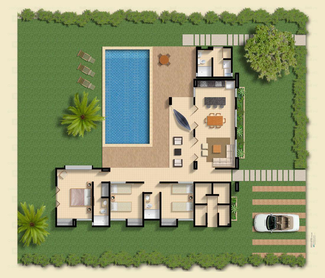 Casa l 75x75 planos pinterest cozinhas pequenas for Planos de casas con piscina y jardin