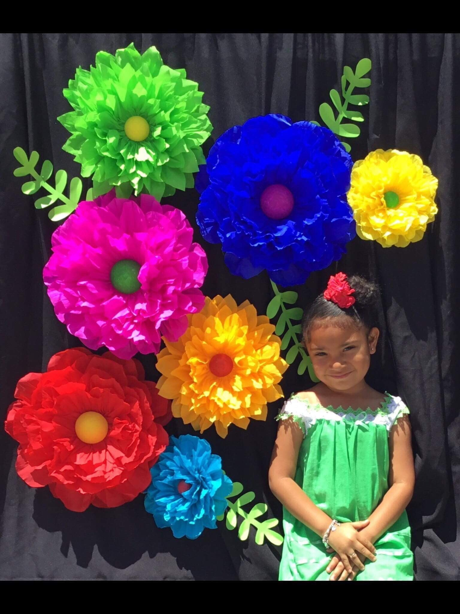 Fiesta Cinco De Mayo Paper Flower Backdrop Large Paper Flowers