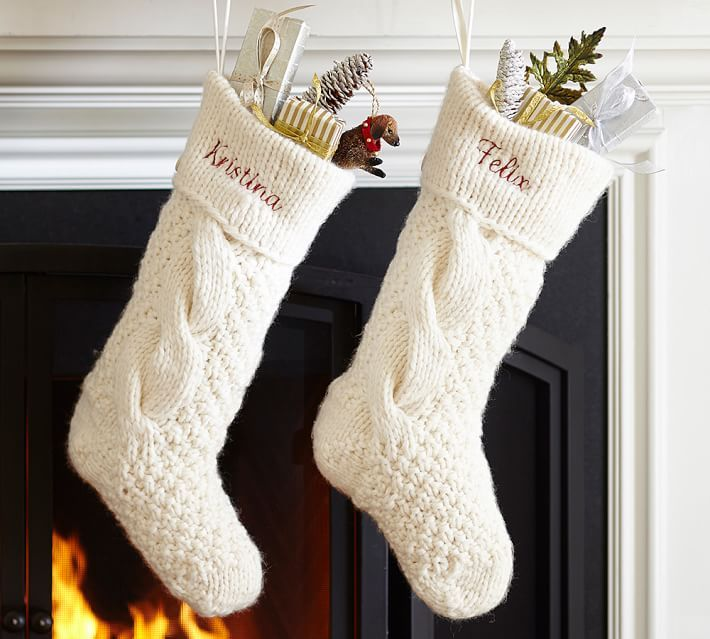 Cable Knit Christmas Stockings 6 Photo Knitted