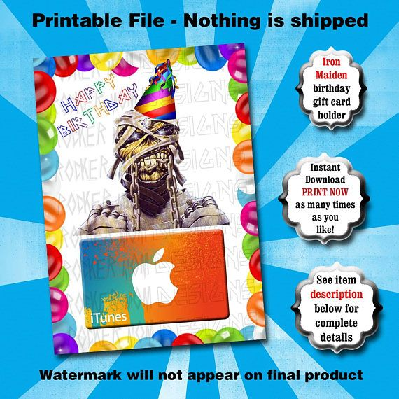 Iron Maiden Gift Card Holder Printable Eddie Birthday Card