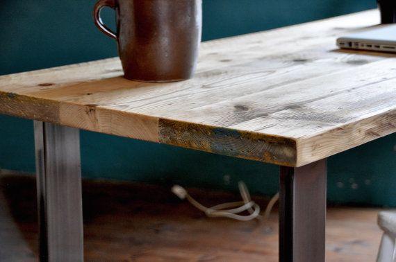 Bureau bois récupéré table rustique industrielle par magok sur