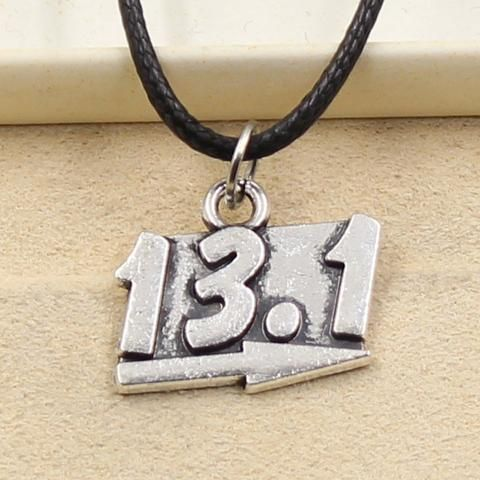 13.1 Necklace Choker Charm Black Leather