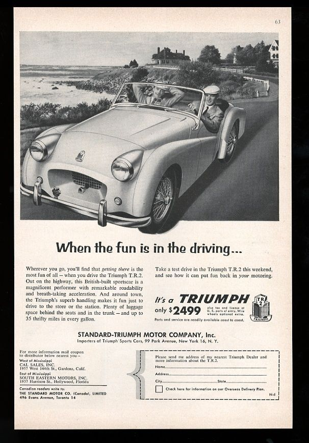 1955 Triumph TR2 Ad | Old Car Advertising | Pinterest | Cars ...