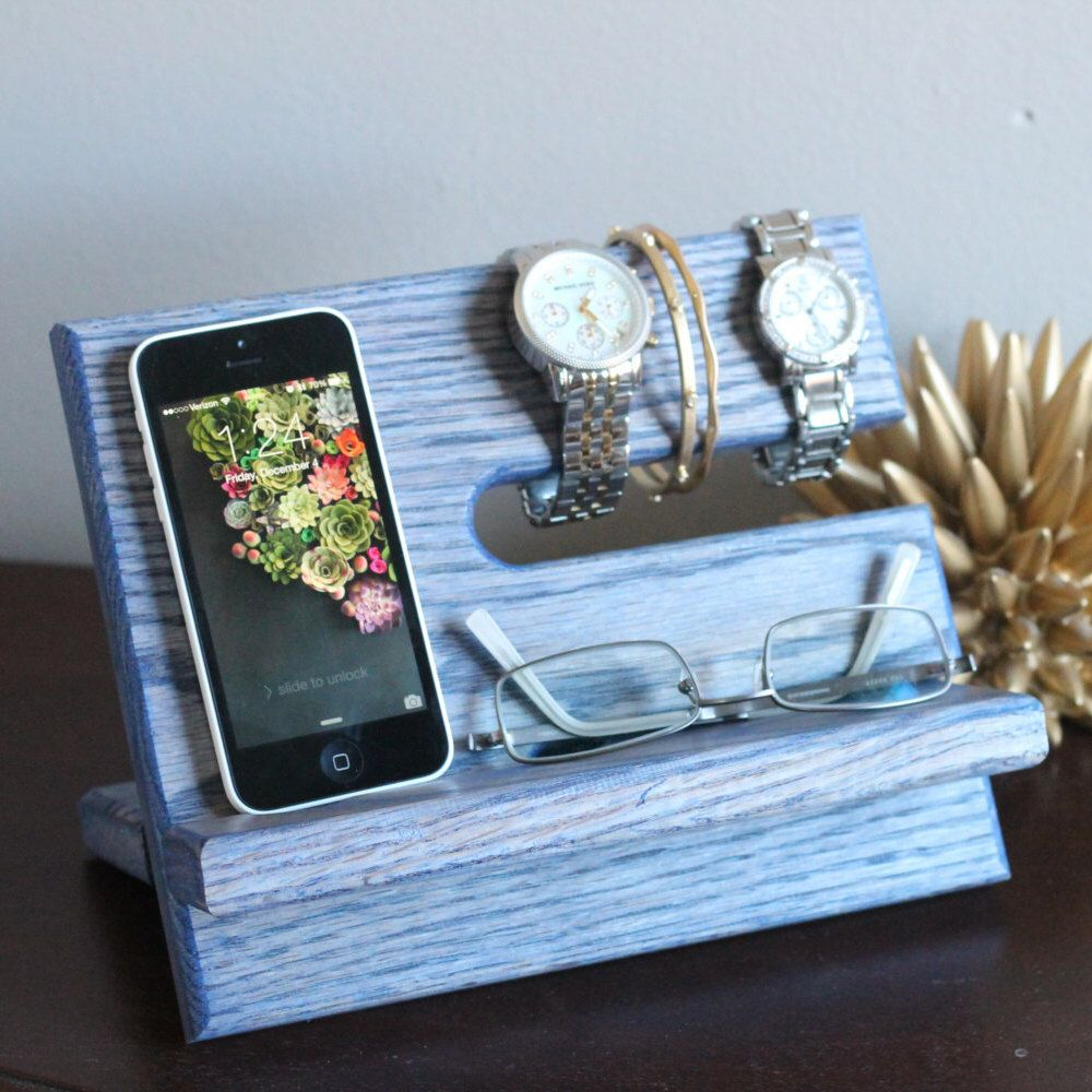Unique blue stained night stand oak wood valet iphone galaxy