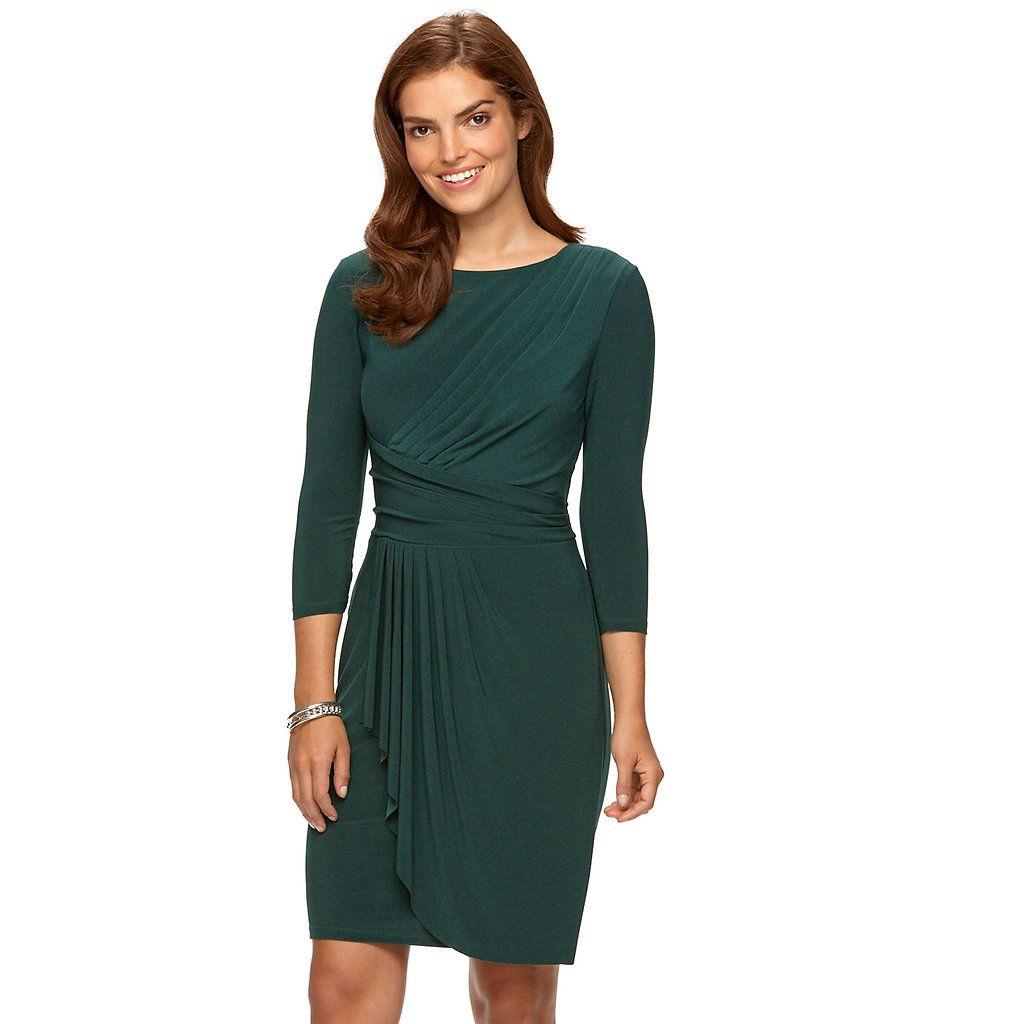 Petite Chaps Pleated Faux-Wrap Dress | Kohls dresses ...