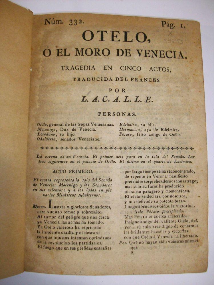 1815 OTHELO SHAKESPEARE  1799 EL PRINCIPE PEREGRINO CARLOS QUINTO etc  XRARE  **