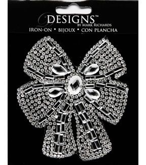 "Mark Richards Designs 3.5"" Rhinestone Iron-On-Bow"