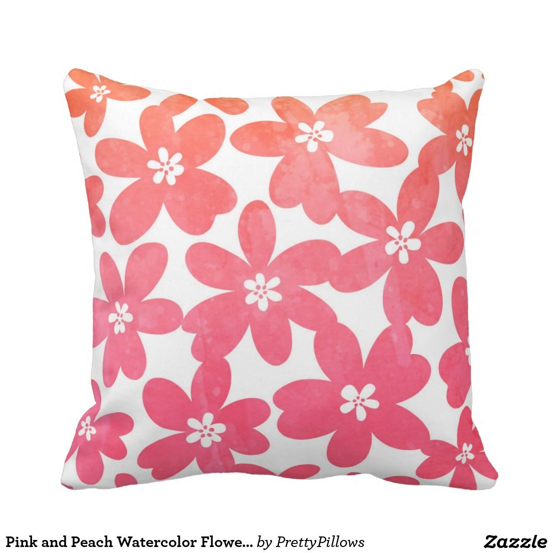 Pink And Peach Watercolor Flower Pillow Zazzle Artists Pin Your