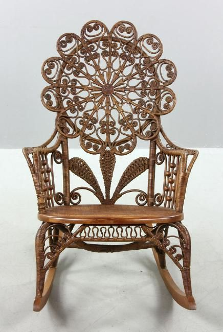 Ornate Victorian Wicker Rocking Chair Circa 1890 1910.