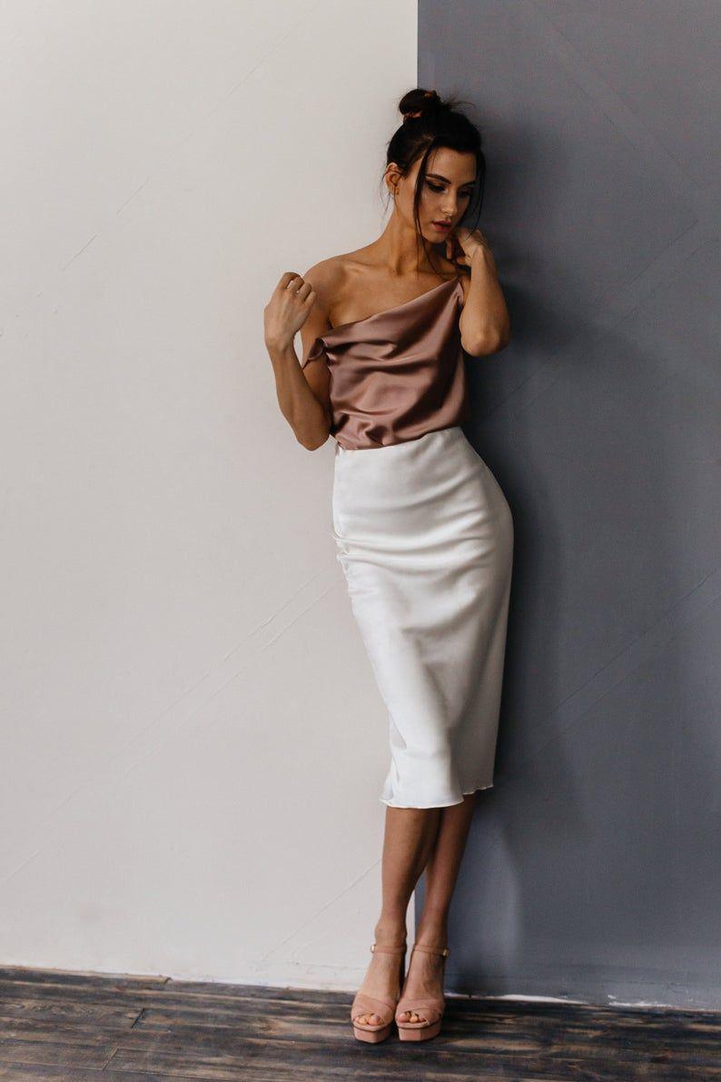 White slip silk skirt TWO layers 100/% real silk slip midi a-line skirt women skirt cream bias cut slip skirt trends trends silk satin skirt