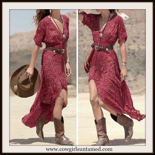 c1fd6900021c WESTERN COWGIRL DRESS Red Floral V Neck and Front Slit Maxi Dress ...