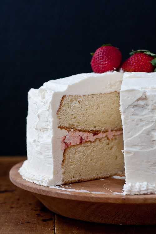 White cake with strawberry filling and strawberryvanilla