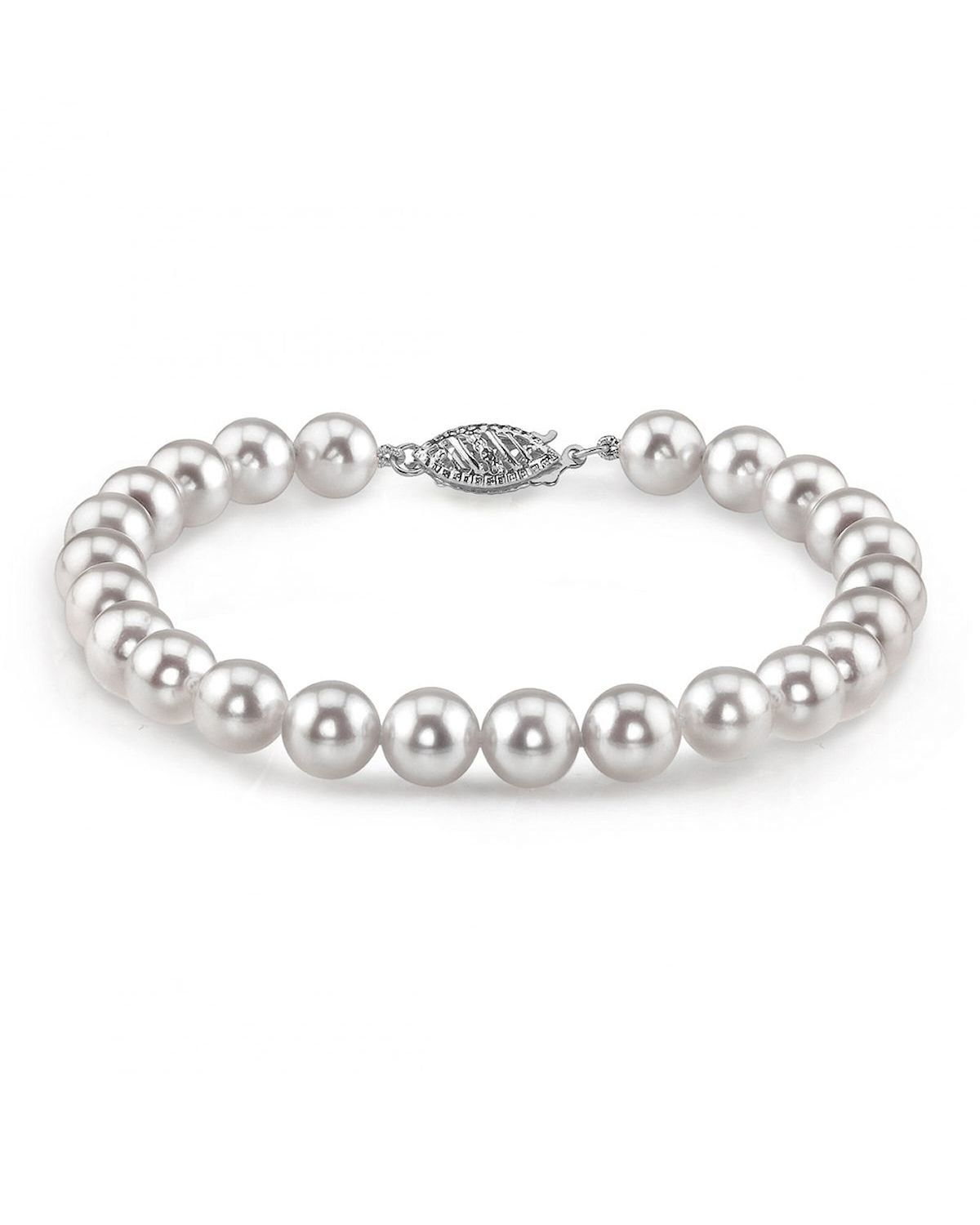 """Fashion 2 Rows 6-10mm Real White Cultured Pearl Bracelet 7.5/"""" 14K Clasp"""