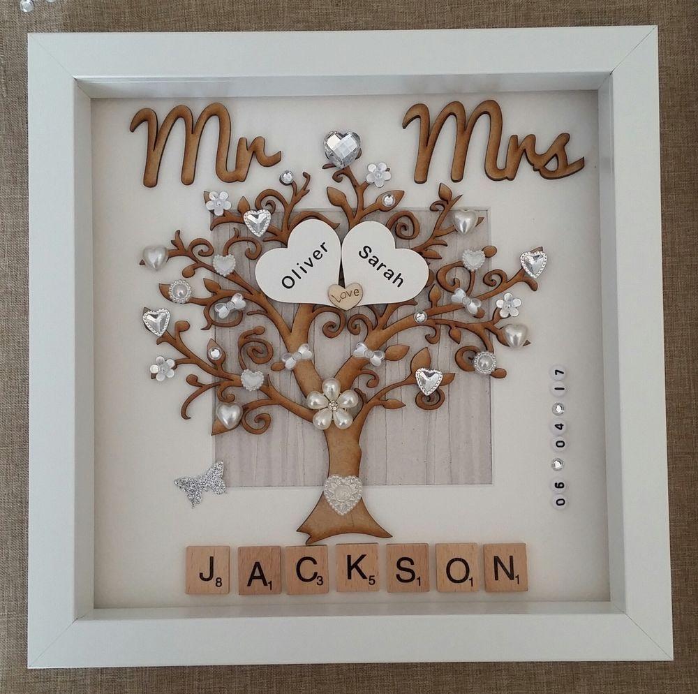 Handmade Personalised Wedding Day Mr Mrs Box Frame Keepsake Gift Scrabble Tile Home Furnitu Wedding Frame Gift Wedding Crafts Gifts Handmade Wedding Gifts