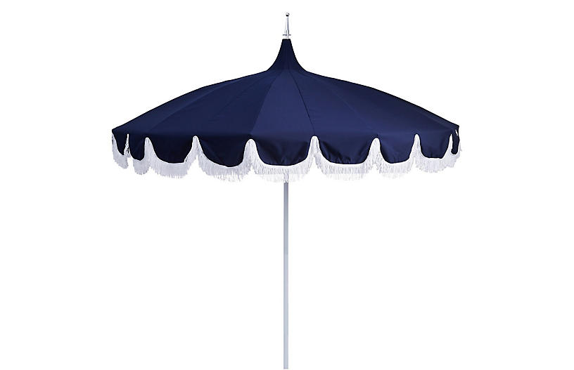 Aya Pagoda Fringe Patio Umbrella Navy Patio Umbrellas Outdoor