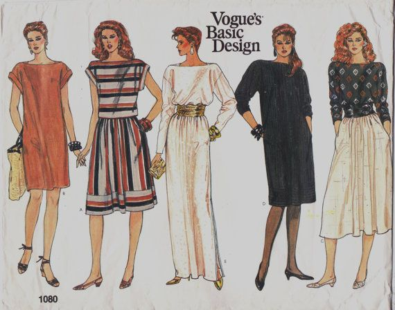 80s Vogue Basic Design Pattern 1080 Womens Boatneck Dress, Top and ...