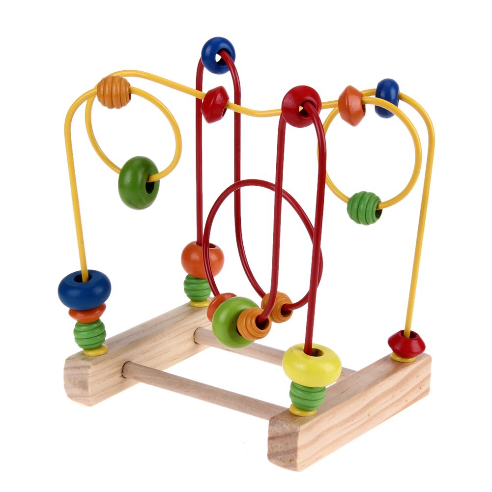 Wooden Counting Bead Educational Toy Abacus Maze Roller Coaster Baby Puzzle Game