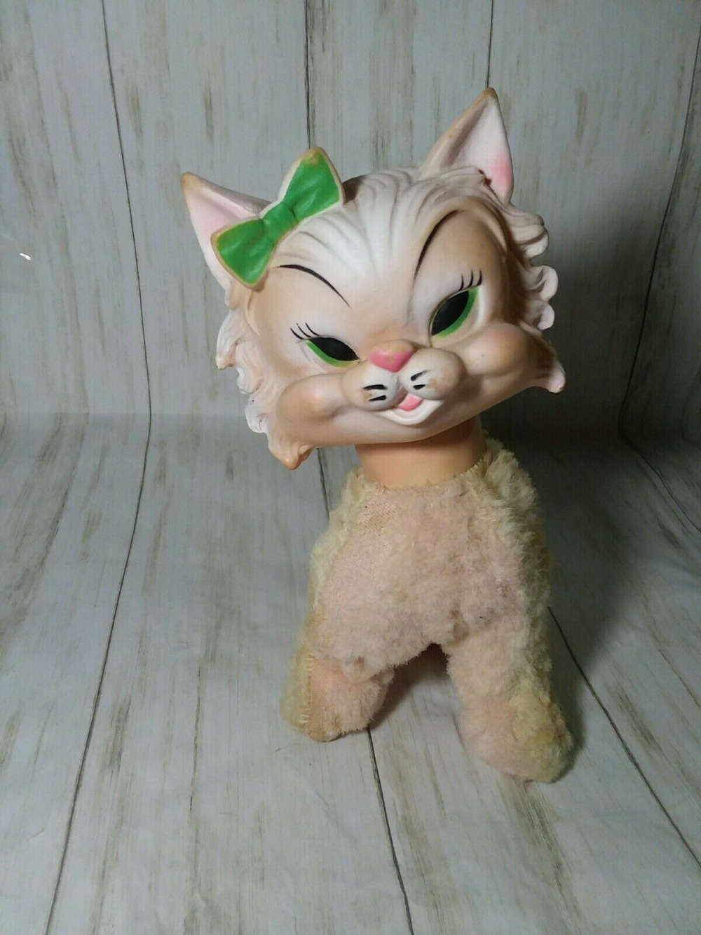 1950s STUFFED RUBBER FACE CAT Pet mice, Stuffed animal cat