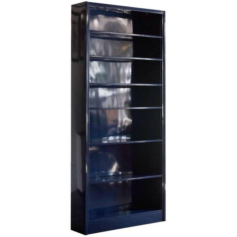 Classic Tall Steel Tanker Bookcase Custom Refinished In Midnight Blue Adjustable Shelving Modern Bookcase Refinished