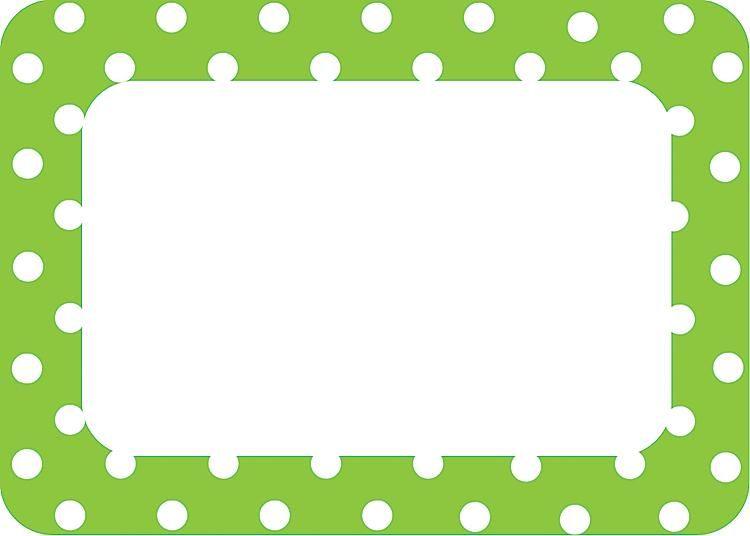 Lime+Green+Polka+Dot+Border skool Printable name tags, Cubby