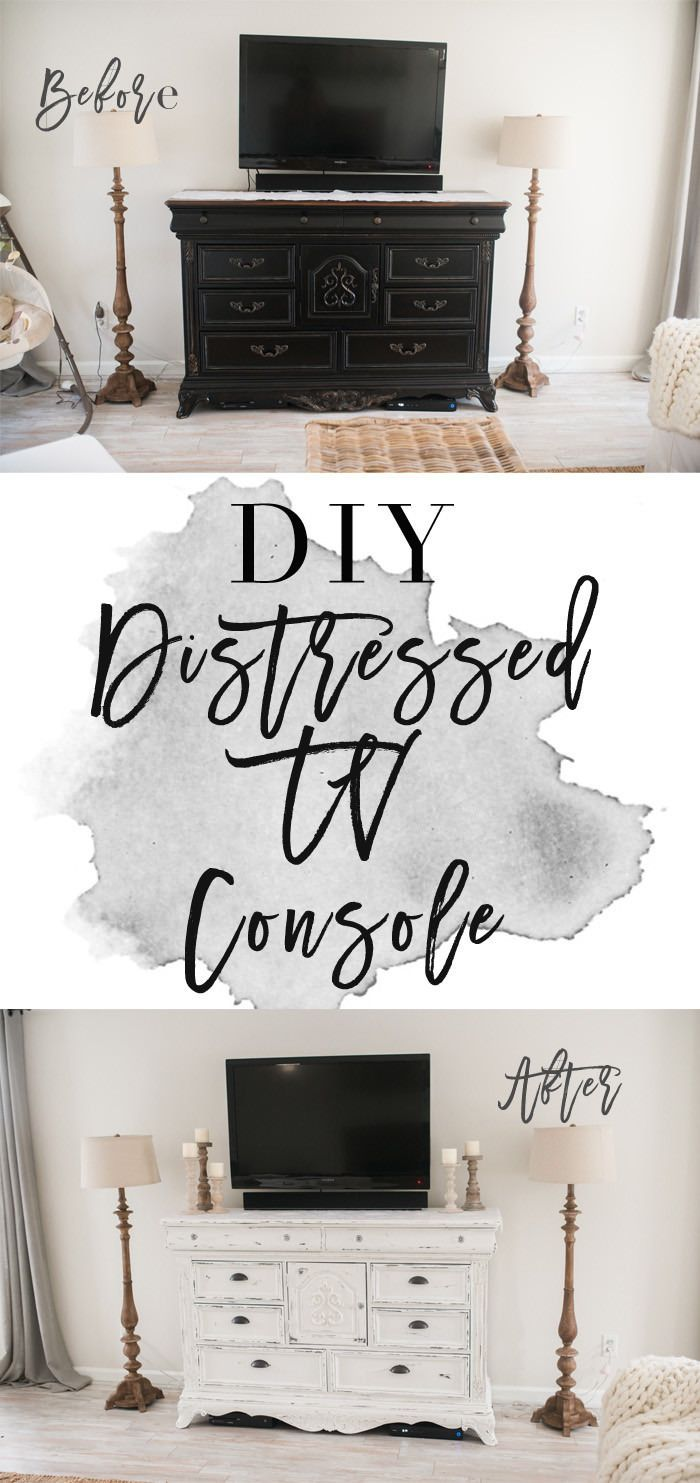 Diy Distressed Tv Console Cabinet
