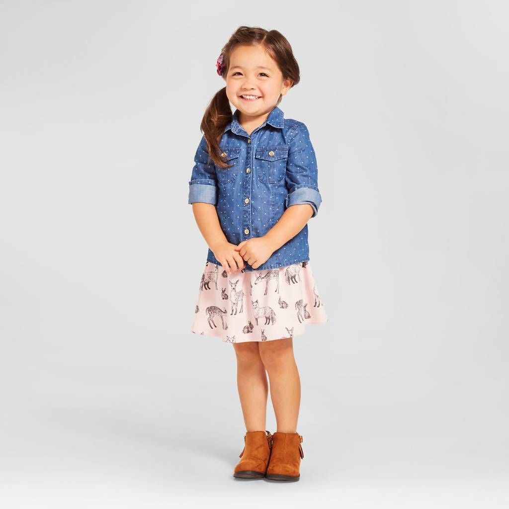 Baby Girls' Denim Chambray 2-Piece Set Blue - Genuine Kids™ from OshKosh®. Image 1 of 4.