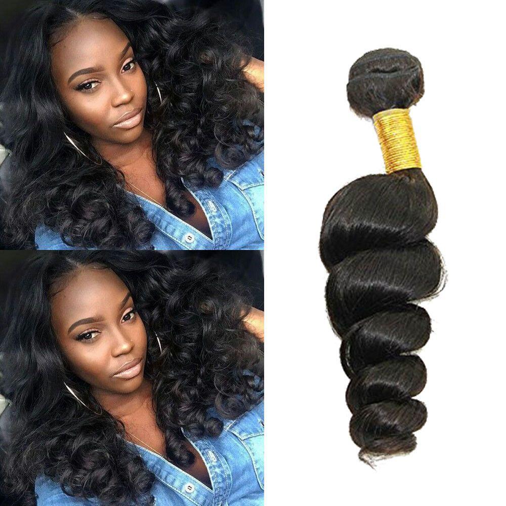 3bundles 22 Real Human Hair Extension 150g Black Loose Wave Hair
