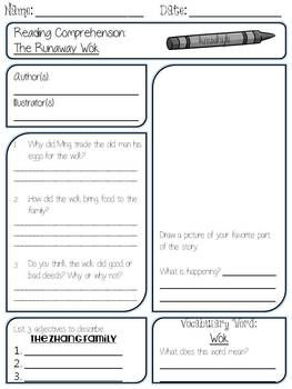 worksheet to go along with the runaway wok chinese new year 2 10 13 my classroom pinterest. Black Bedroom Furniture Sets. Home Design Ideas