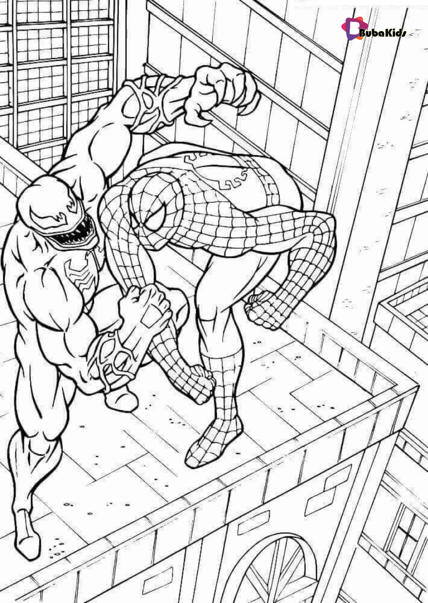 Spiderman And Venom Printable Coloring Pages Spiderman Coloring