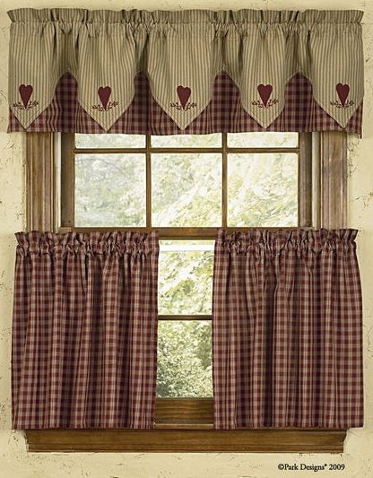 Wine And Tan Checked Country Curtain Tiers Park Designs Country Style Curtains Country Kitchen Curtains Kitchen Window Curtains