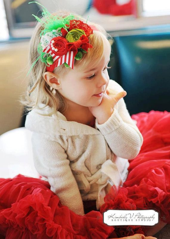 Christmas Xmas Baby Girl Headband Hairband Satin Bow Rhinestone Lace Headband
