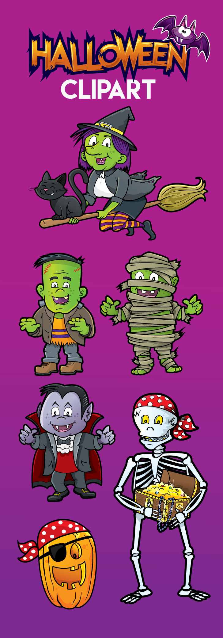 Download individual files or complete Halloween clipart
