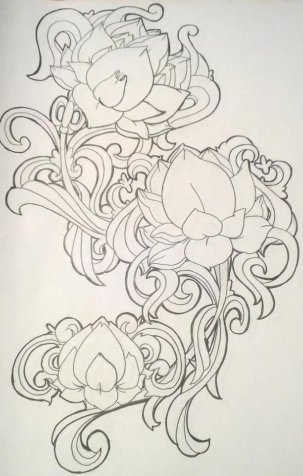 filigree tattoos w/ lotus. Maybe replace a couple of lotus with rose ...