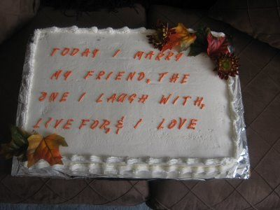 I love the writing on the cake