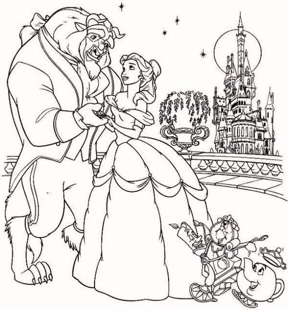 Delightful Beast In A Beautiful Night With Belle Coloring Page