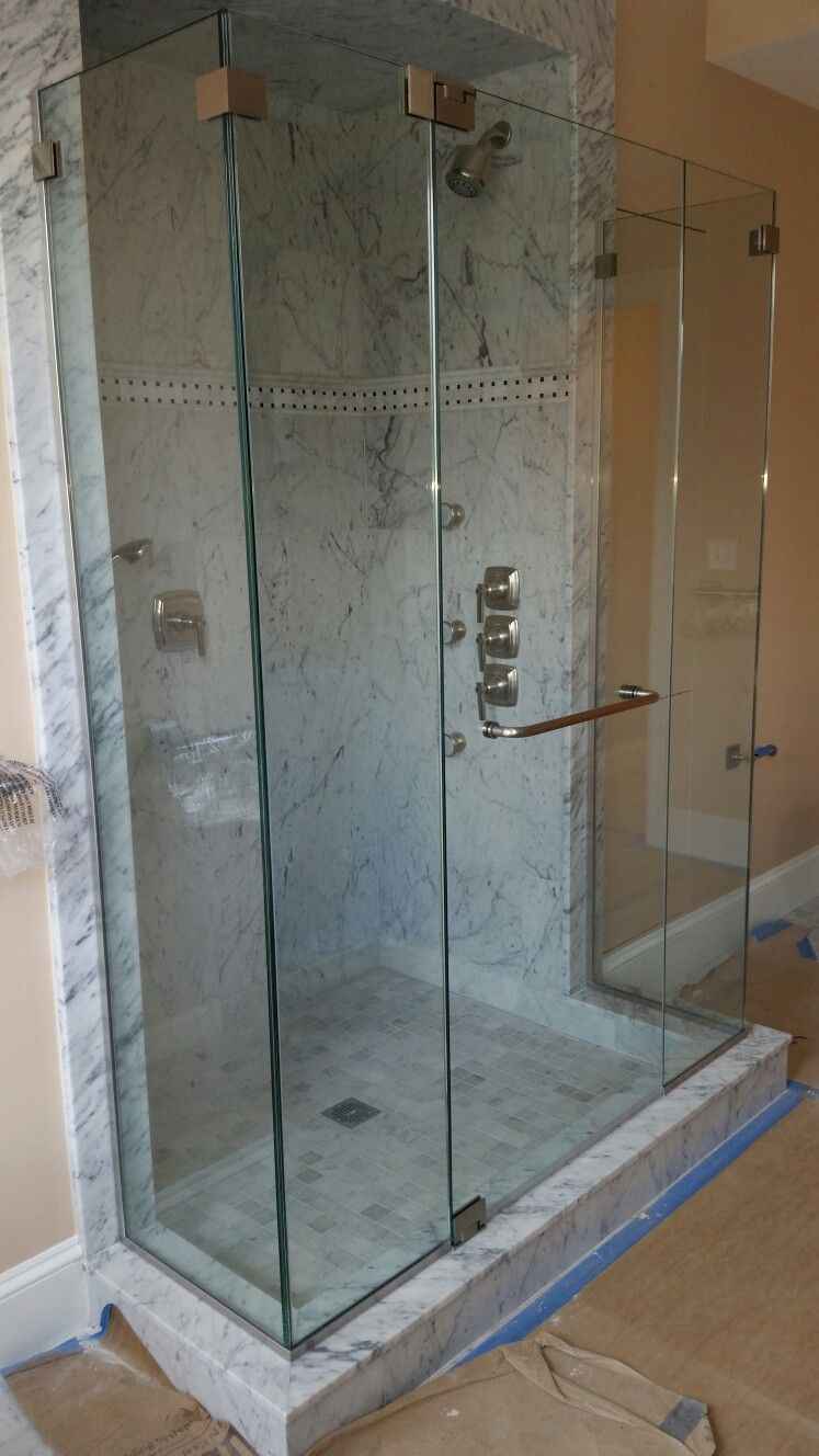 Frameless Shower Enclosure With No Header And 1 2 Clear Tempered Glass Glass Shower Enclosures Shower Doors Frameless Shower Enclosures