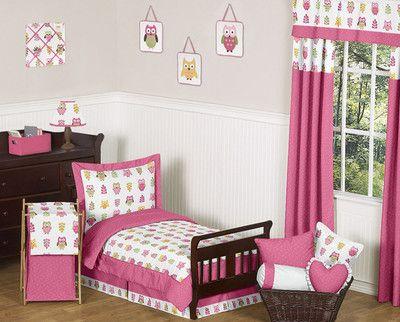 Modern owl print girl toddler size bedding for kid room bed ...