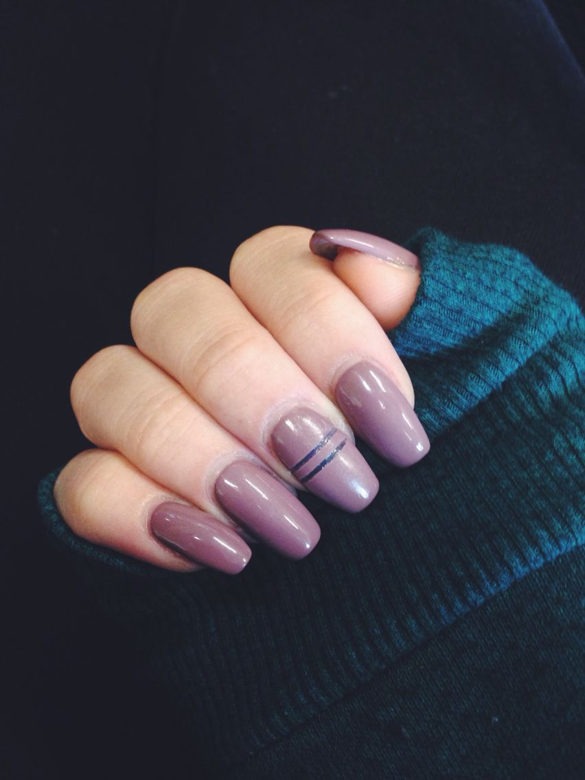 Mauve neutral coffin ( ballerina ) acrylic nails with a cutout! Love ...