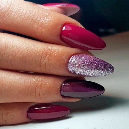 Gorgeous color on almond shaped nails