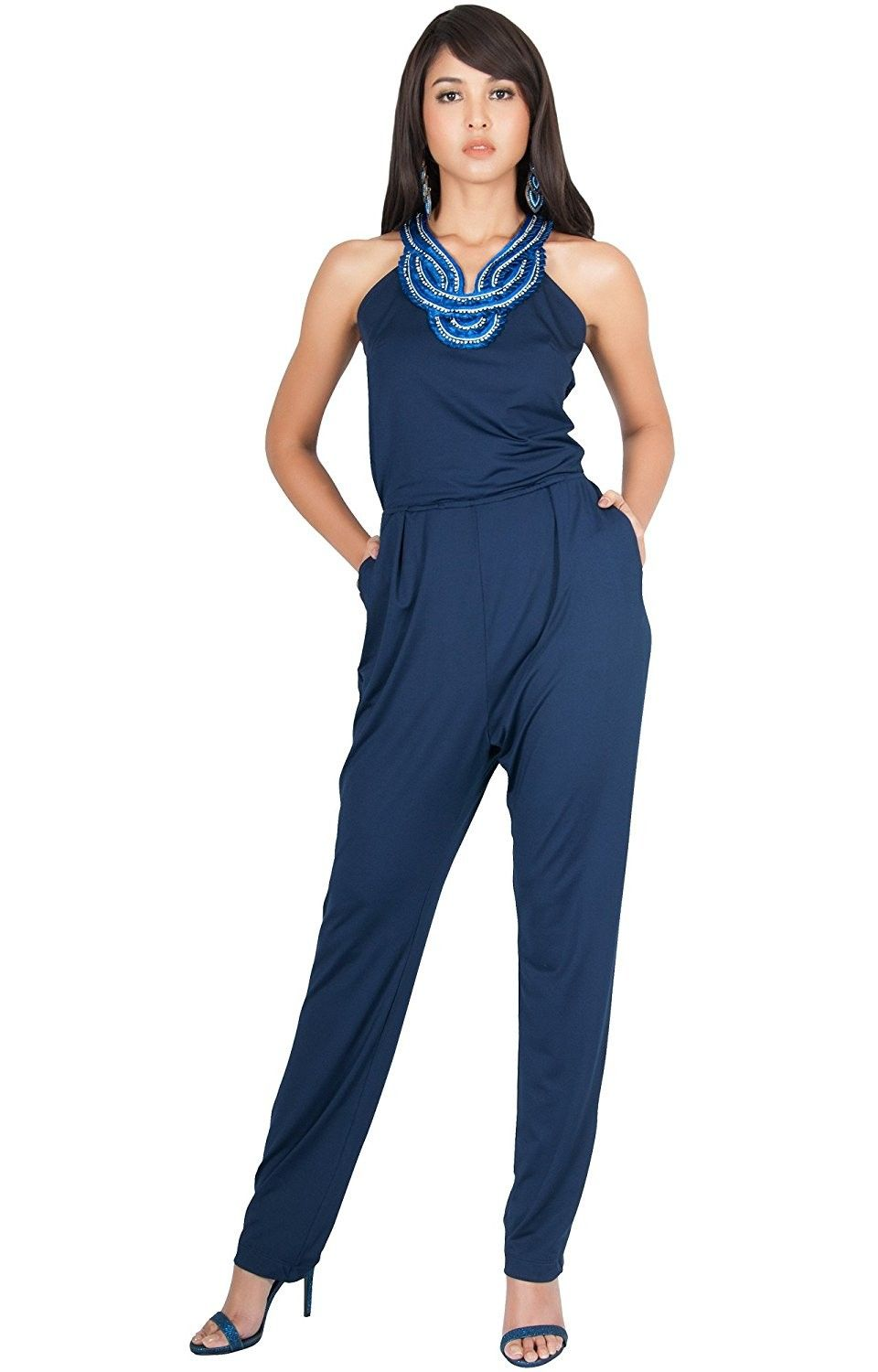 9249bf949396 Womens Sleeveless Long Cute Sexy Cocktail Party Pantsuit Jumpsuit Romper -  Navy Blue - CV18255Z228