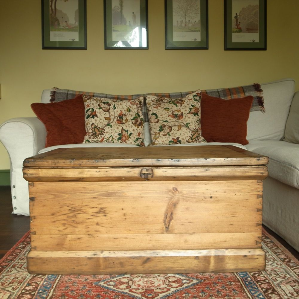 Antique Victorian Chest Pine Blanket Chest Wooden Storage Trunk Coffee Table Box Wooden Storage Blanket Chest Storage Trunk #storage #trunks #living #room