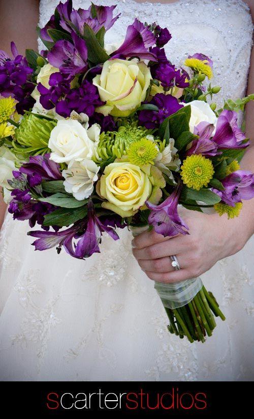 Purple And Yellow Bridal Bouquet Yellow Wedding Flowers Wedding