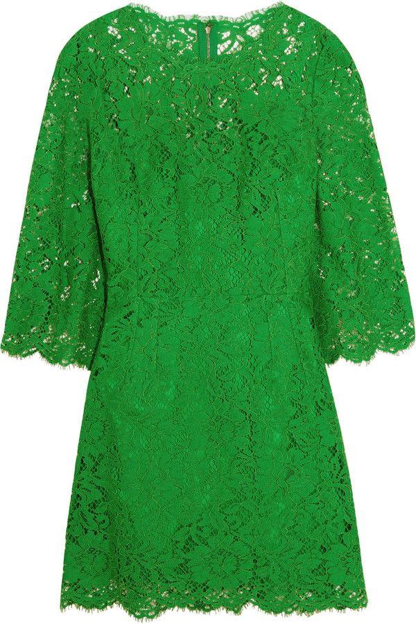 Dolce & Gabbana Floral-Lace Mini Dress (Dengan gambar ...