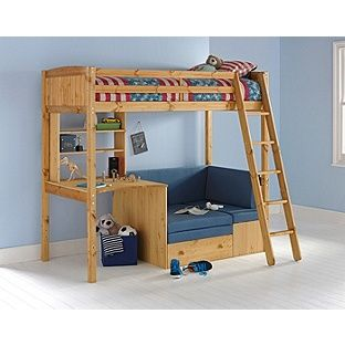 Clic High Sleeper With Blue Sofa Bed Frame Pine At