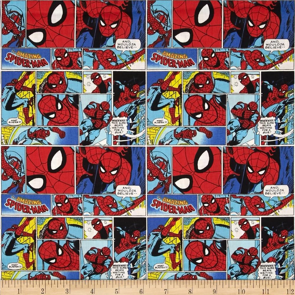marvel comics spider man red blue black from fabricdotcom marvel comics spider man red blue black from fabricdotcom designed by marvel and licensed to springs creative products this cotton print fabric is perfect