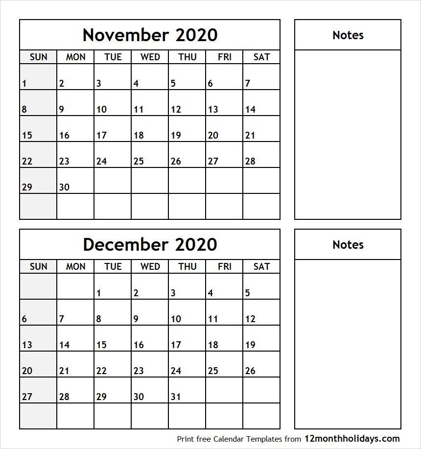 November December 2020 Printable Calendar in 2020 ...