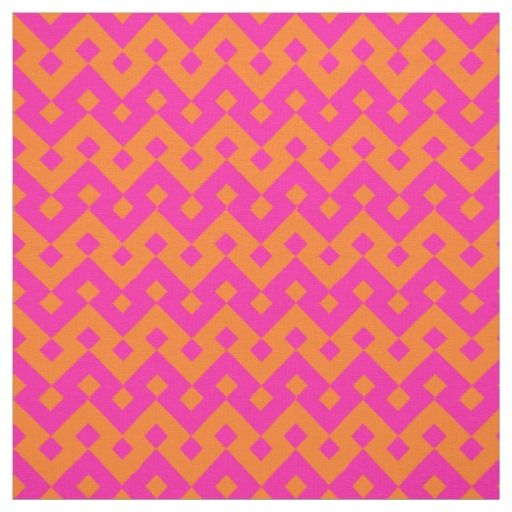 Shocking Pink and Orange Islamic Geometric Pattern Fabric (poshandpainterly - zazzle)